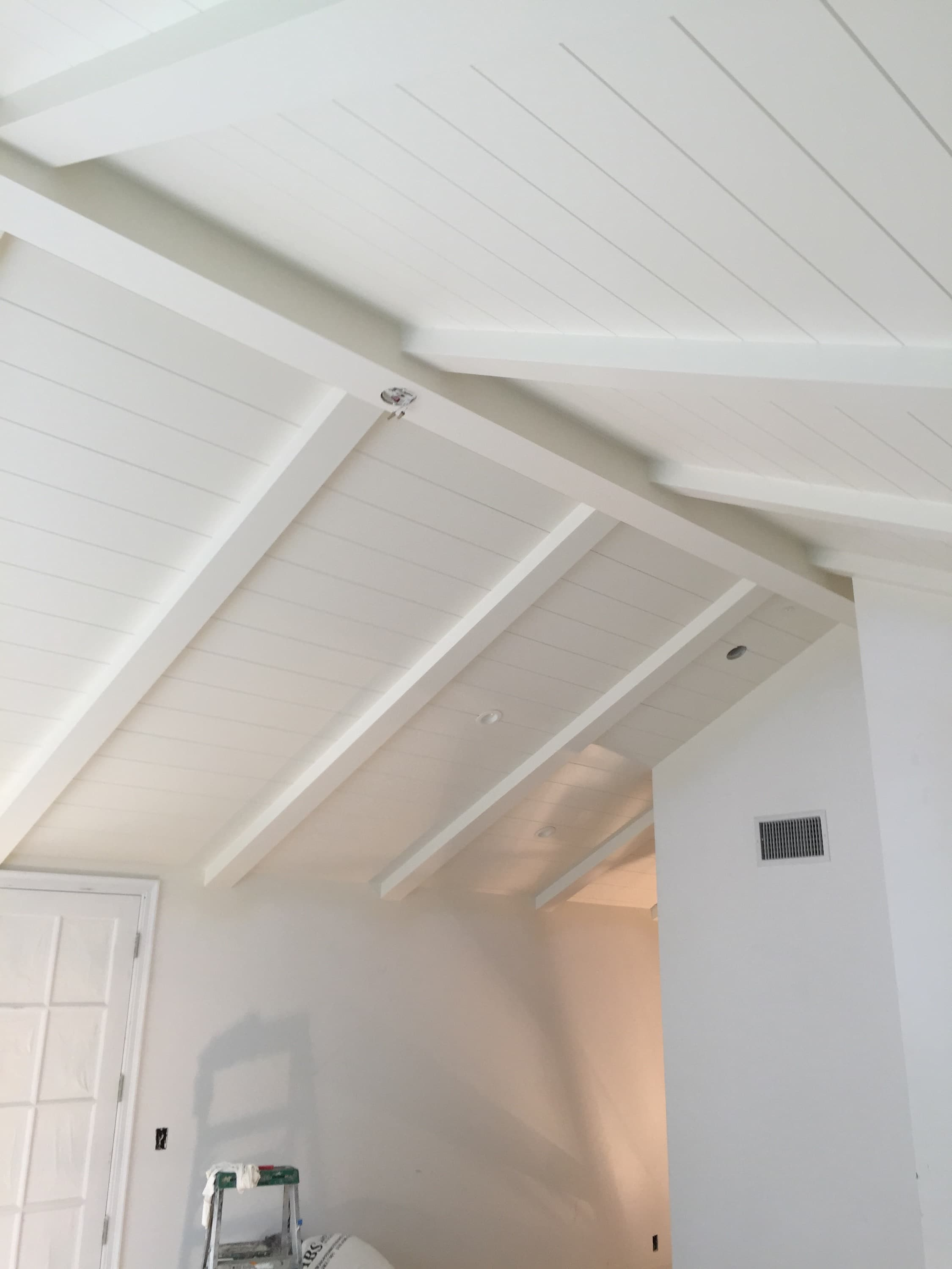 Cathedral Style Tongue Groove Ceiling With Beams