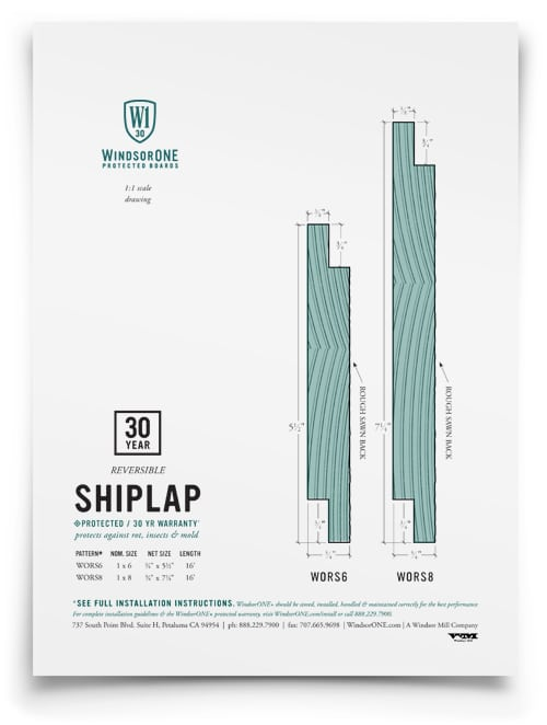 WindsorONE - 1 sheet on Shiplap