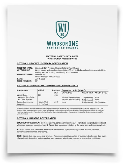 WindsorONE - Protected MSDS