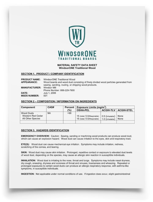 WindsorONE - Traditional MSDS