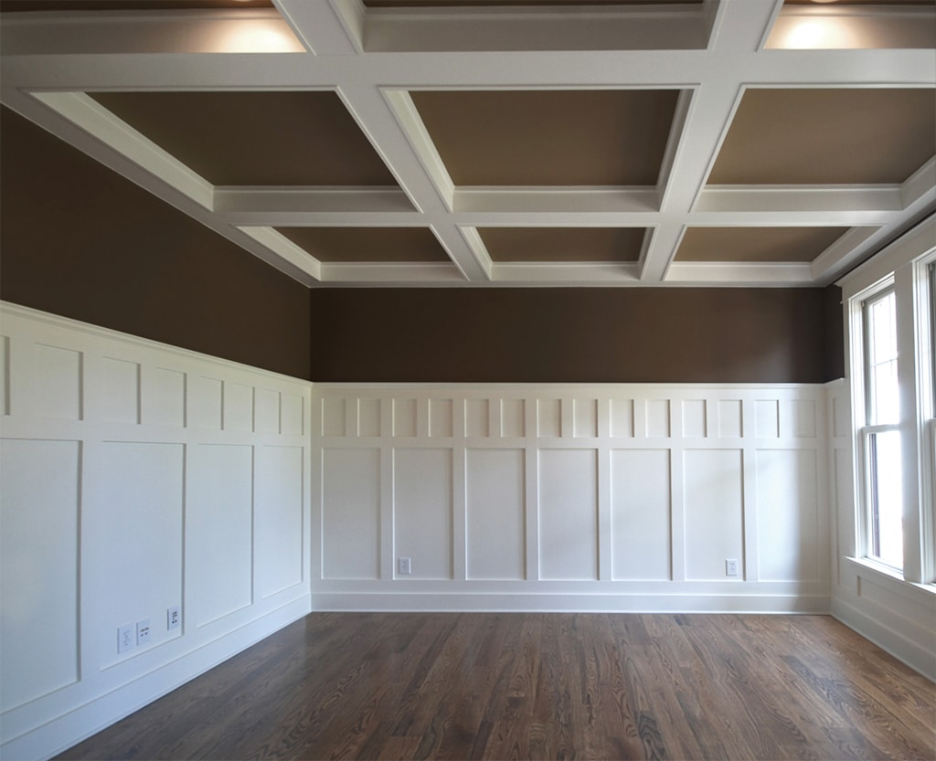 Mission Style Paneling : Coffered ceilng with contrast windsorone