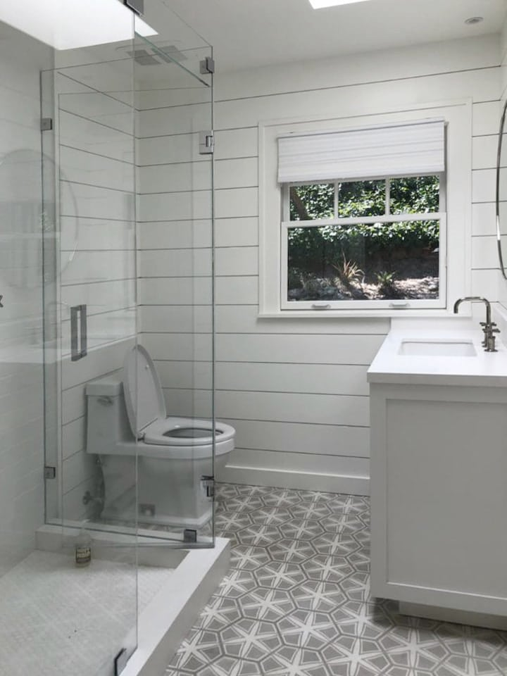 Crisp Clean Lines Of Shiplap For This Stylish Bathroom