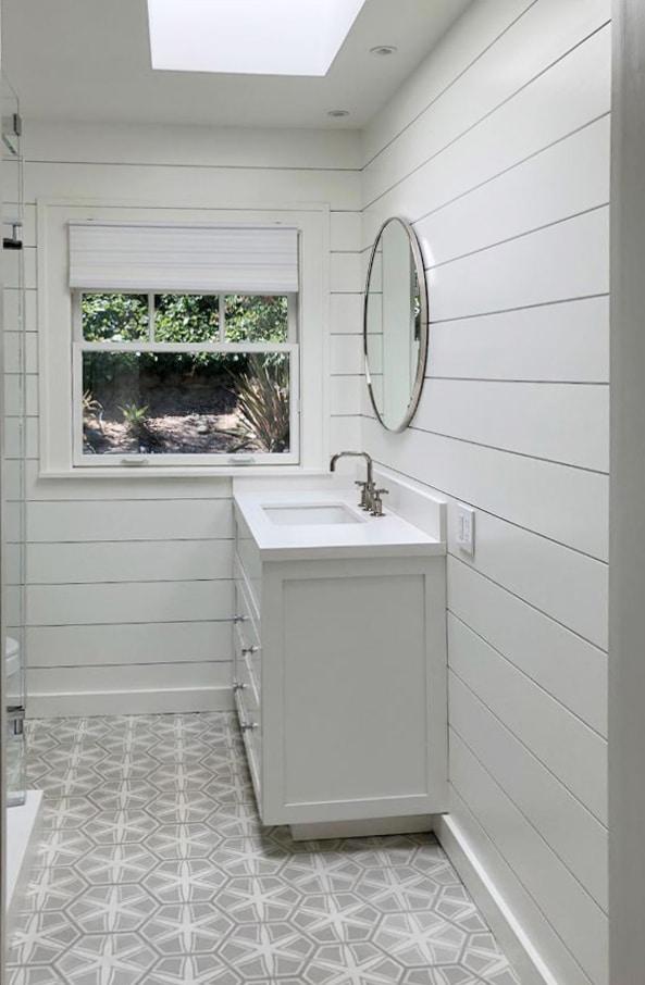 Shiplap Mirror Tiles Complete This Bathroom Windsorone